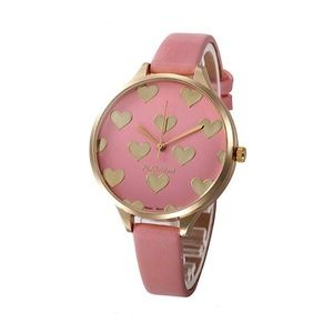 Women's Watch with Heart Design Details Pink/Gold